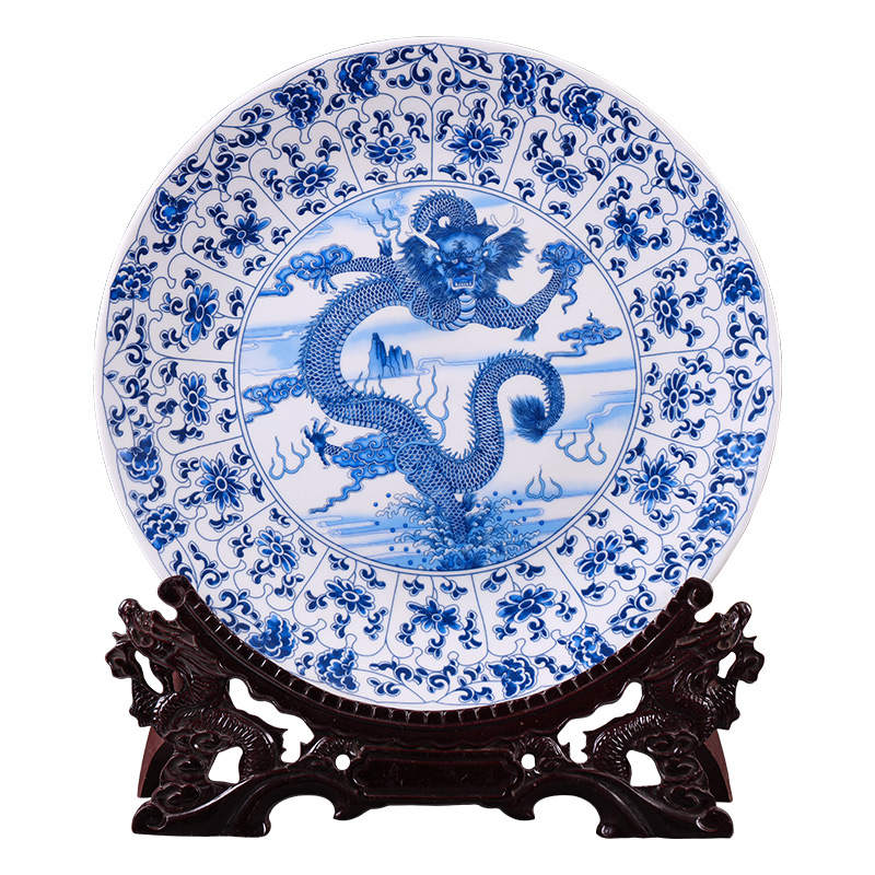 Jingdezhen Ceramics Blue And White Porcelain Hanging Plate Decoration Plate China Style Living Room Home Decoration Crafts