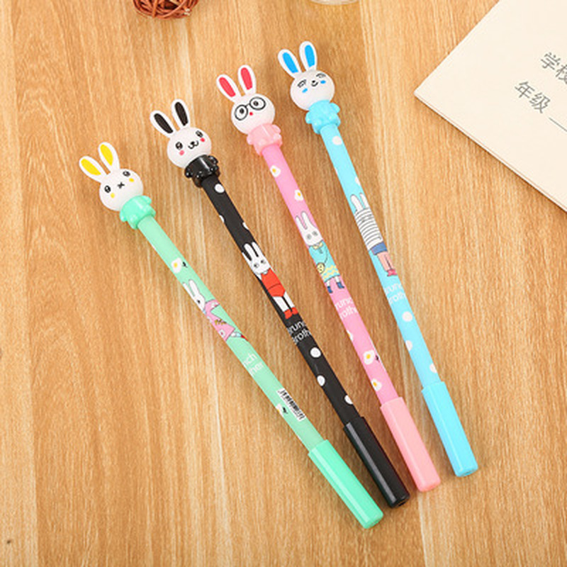 1pcs Printed Rabbit Gel Pen 0.5mm  Cute Pen Novelty Stationery Kawaii Pens Student Cute Signature Pens Kawaii School Supplies