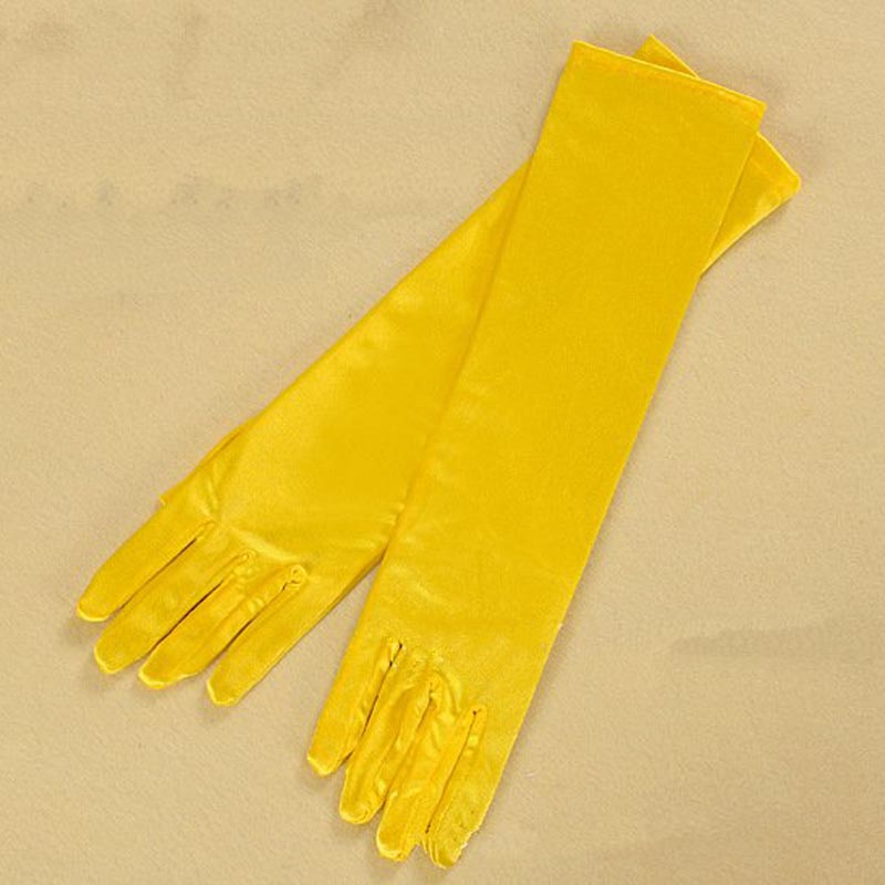 Blue Gray Gold Yellow Pink Gloves For Prom Party One Size Fashion Stretch Satin Elbow Finger Women Guantes Boda Gloves ST017