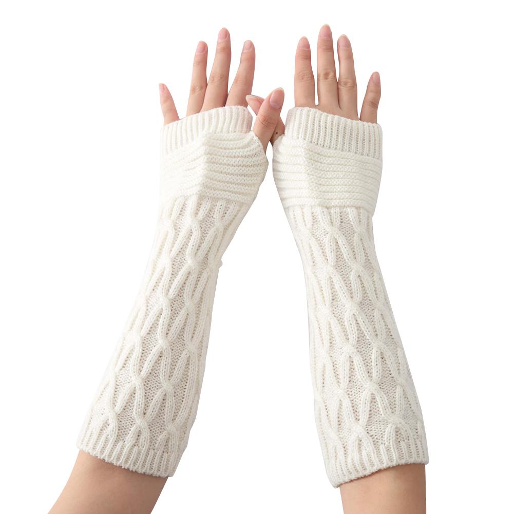 Autumn And Winter 31cm Women's Knitted Half Fingerless Finger Gloves Wool Arm Sleeve Knitted Wool Sleeves Knit Warm Arm Sleeve