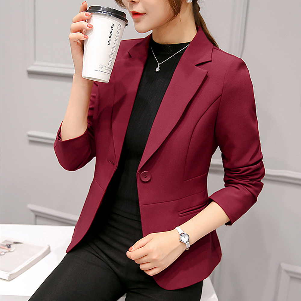 OEAK Women Casual Solid Suit Coat 2019 Autumn Outwear Business Long Sleeve Jacket Ladies V-Neck Jacket Fashion Slim Blazer