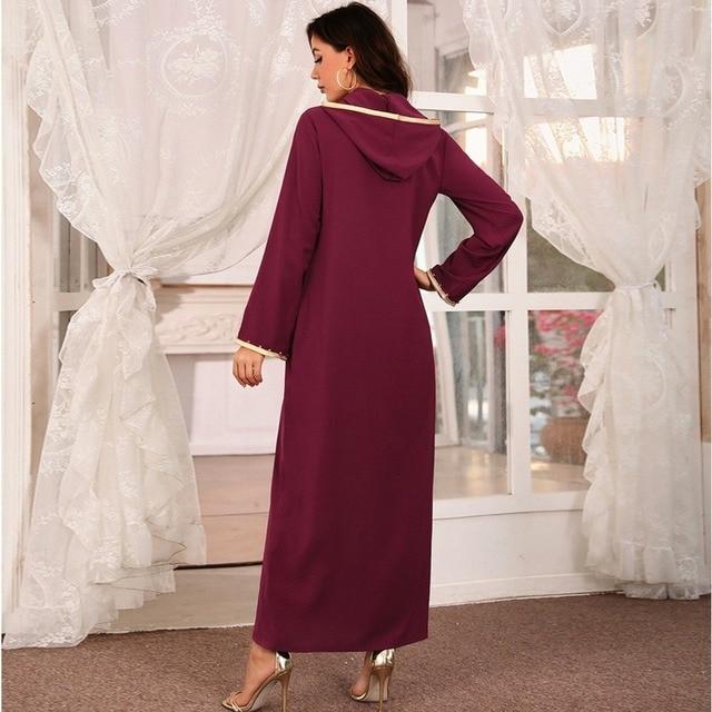 Hooded Kaftan Dress for Women Fashion Ethnic Hand Stitch Diamond Ribbon Trim Moroccan Dubai Turkey Arabic Clothes Eid 3