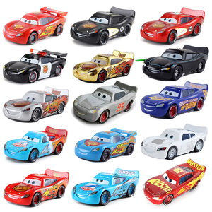 Disney Pixar Cars 2 Gold Dinoco Blue Black Police Lightning McQueen 1:55 Metal Diecast Toys Car Model For Children Gift