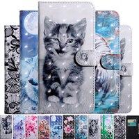 Custodia in pelle verniciata a fiori per cani 3D Cat Dog per Xiaomi Redmi Note 9 9A 9S 8 8T 7 7A 6 5 5A 4X 4 Pro Card Holder Stand Book Cover