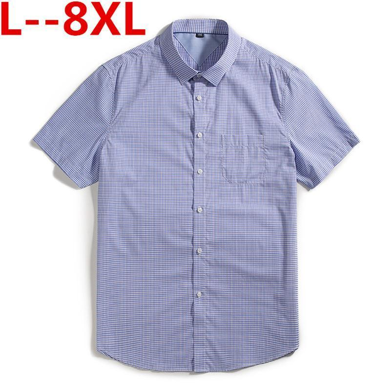 Plus Big Size 8XL 6XL 5XL 4XL 100% Cotton Short Sleeve Shirts Button Down Collar Plaid Striped Slim Fit Men Casual Shirts Brand