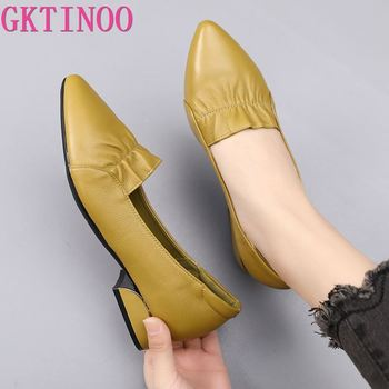 GKTINOO Brand Shoes Thick Heel Ladies Pumps Genuine Leather Pointed Toe Colorful Square Heels Party Handmade Women - discount item  53% OFF Women's Shoes