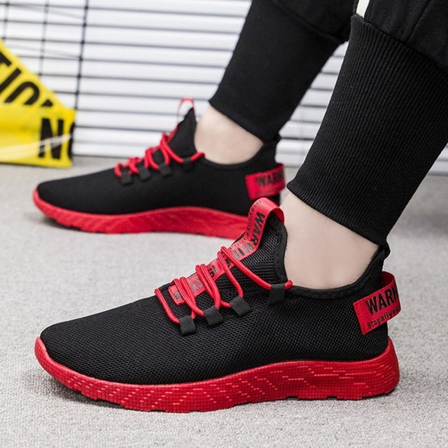 Puimentiua Men Breathable Sneakers No-slip Vulcanize Shoes Air Mesh Lace Up Wear-resistant Casual running shoes