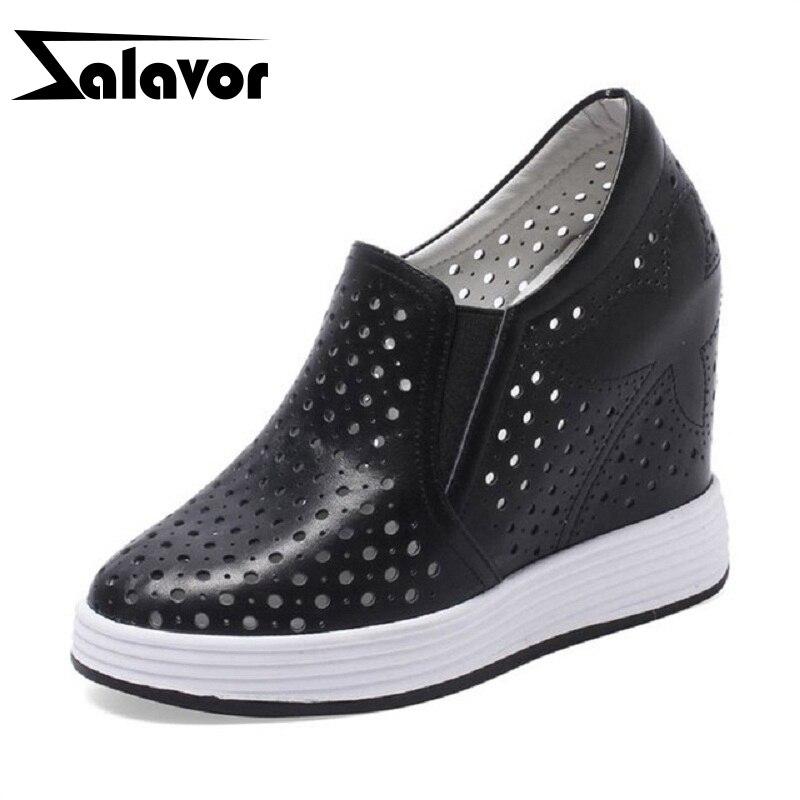 RAZAMAZA 高品質の女性は本革交差高さの靴ラウンドトウ中空女性靴のサイズ 32 40  グループ上の 靴 からの レディースパンプス の中 1