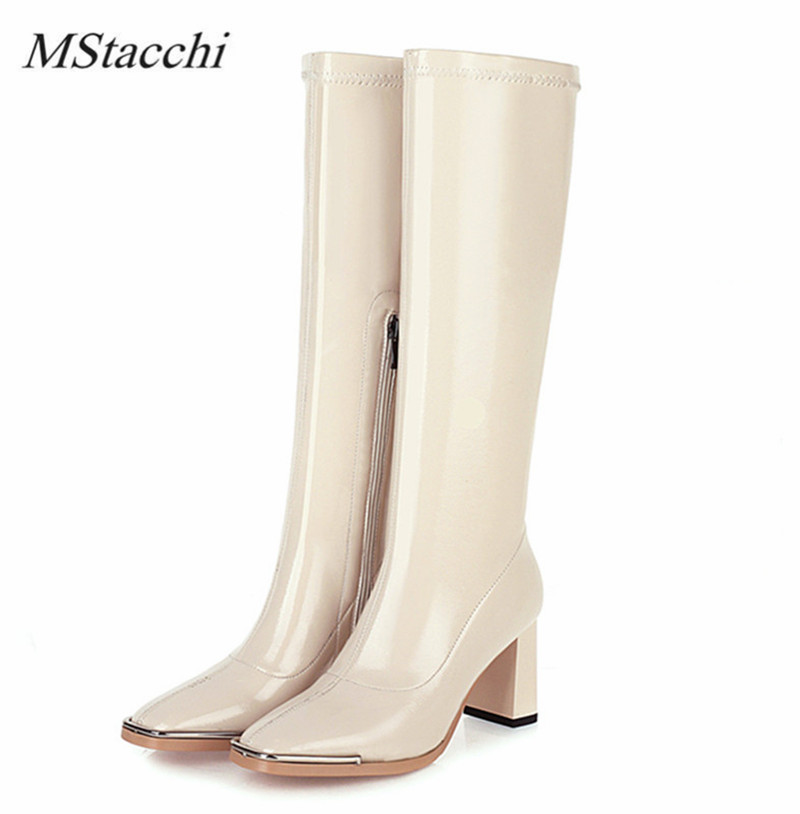 MStacchi Fashion Women Knee-length Boots Cow Leather Square Toe Black White Boots 2020 Spring Autumn Travel Party Botas Feminina