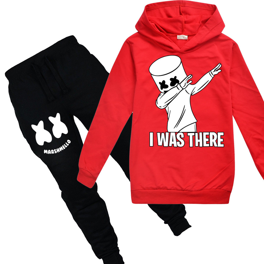 Costume Marshmello Halloween Cos Children's Hoodie-Pants Long-Sleeve-Set Gift DJ New