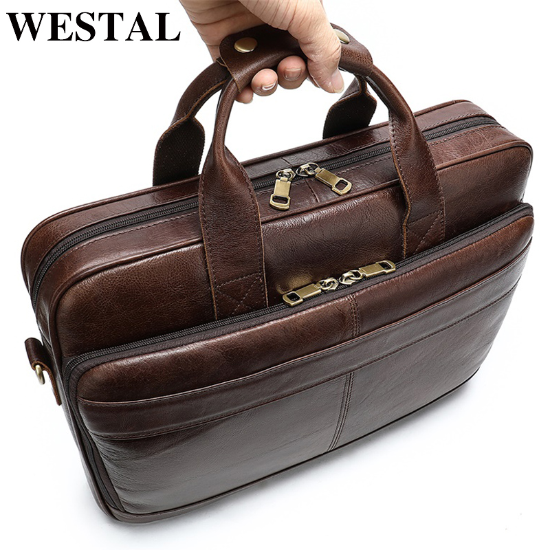 WESTAL Men Briefcase Totes Men's Bag Genuine Leather 15'' Laptop Bag Leather Male Briefcases For Document Office Bags For Men