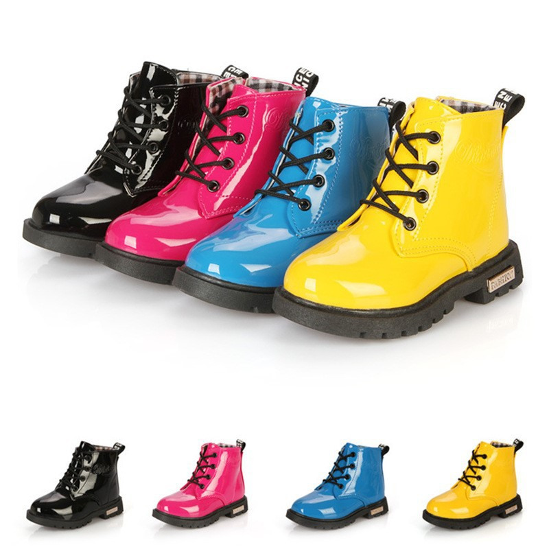Children Shoes PU Leather Waterproof Martin Boots Kids Snow Boots Brand Girls Boys Rubber Boots Fashion Sneakers 2020 New Winter