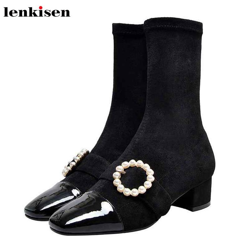 Lenkisen mode coréenne fille chaussettes bottes perle boucle sangles med talons bout carré velours hiver chaud femmes mi-mollet bottes L80