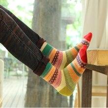 Модные носки женские цветные полосатые повседневные короткие носки Ретро Национальный Ветер в трубке зима Хлопковых Носков
