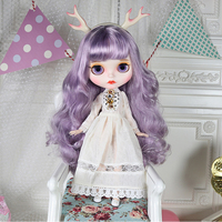 MODIKER 1/6 19 Joints Elves Blyth Doll Makeup Dolls with Full Clothes Purple Curly Hair Matte Face