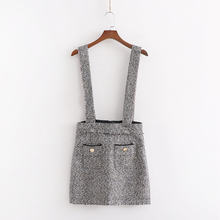 ZA style women autumn winter short Knitted suspender tweed overalls skirt pocket slim chic lady casual mini skirt female(China)