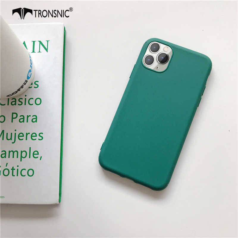 Capa de celular para iphone 11 pro max xr x xs, cor verde, macia, fosca, preta, azul, de luxo capa para iphone se 6s 7 8 plus