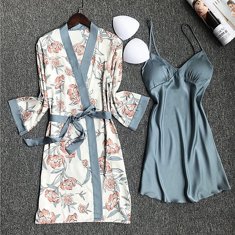Sleepwear Sets Printed Womens Tops And Blouses Sexy Lingerie Dress Floral Ladies Robe & Gown Sets Bathrobe Silk Pijamas Dress