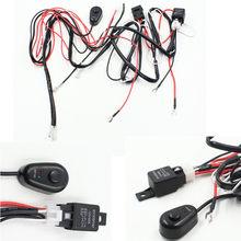 1pc uniwersalny zestaw Hareness 1 do 2 listwa świetlna Led kabel 40A 12v 24v przełączniki przekaźnika automatyczne działanie światła przeciwmgielne okablowanie wiązki przewodów