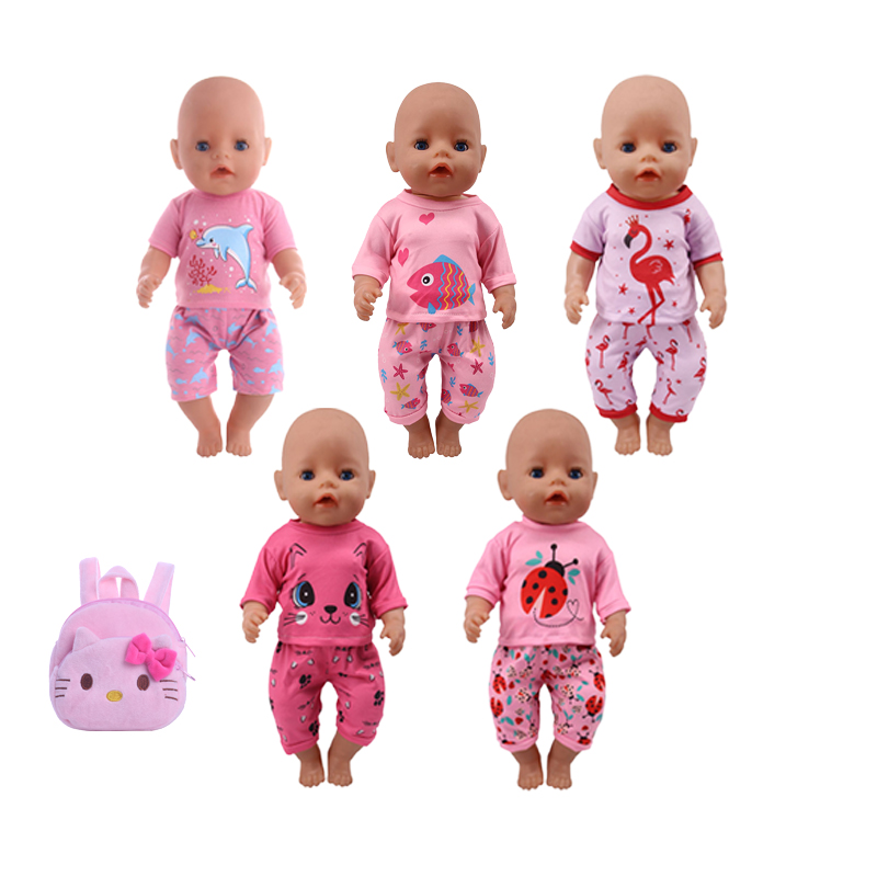 Doll Clothes Accessories Bags Beetle&Cat&Unicorn Set Pajamas Fit 18 Inch American 43Cm Born Baby Our Generation Christmas Gift