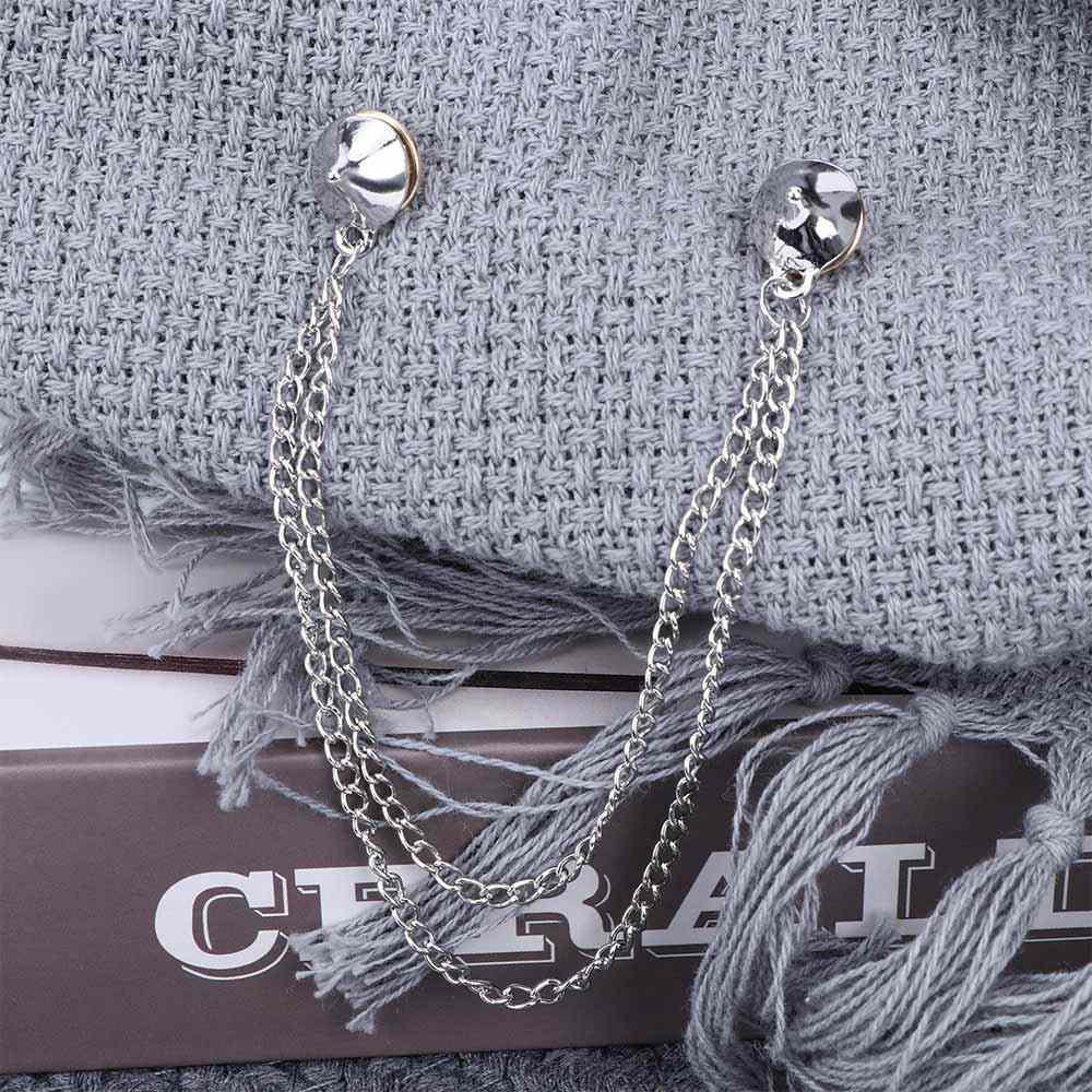 W stylu Vintage stożkowe stadniny broszki Unisex koszula kołnierz szpilki łańcuch frędzle klapy Pin broszka Gothic kobiety mężczyźni koszula kołnierz Bijoux