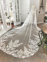One Layer Stunning Lace Cathedral Style Wedding Veil Unique Long Bridal Veils Stunning  Wedding Veil with Comb