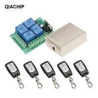 QIACHIP-Interruptor de Control remoto inalámbrico Universal, 433 Mhz, cc 12V, 4 canales, módulo receptor de relé de RF + mando a distancia RF 433 Mhz, transmisor Diy