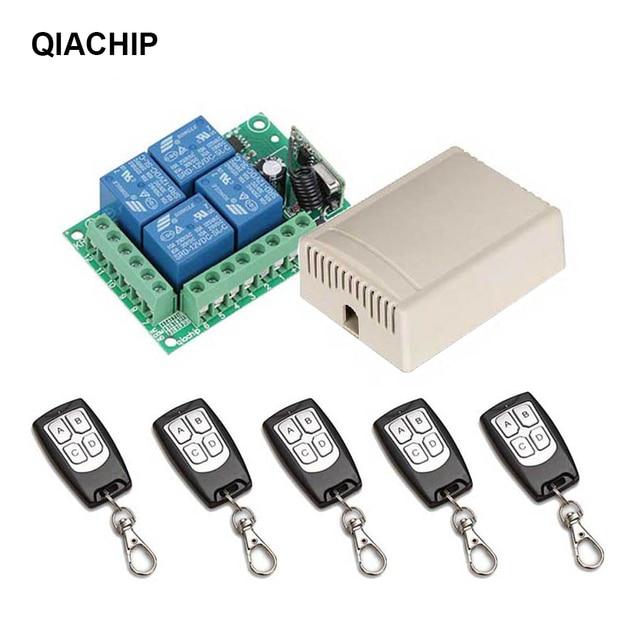 QACHIP 433 MHz ไร้สายรีโมทคอนโทรลสวิตช์ DC 12V 4 CH RF รีเลย์ตัวรับสัญญาณรีเลย์ + รีโมทคอนโทรล RF 433 MHz เครื่องส่งสัญญาณ DIY