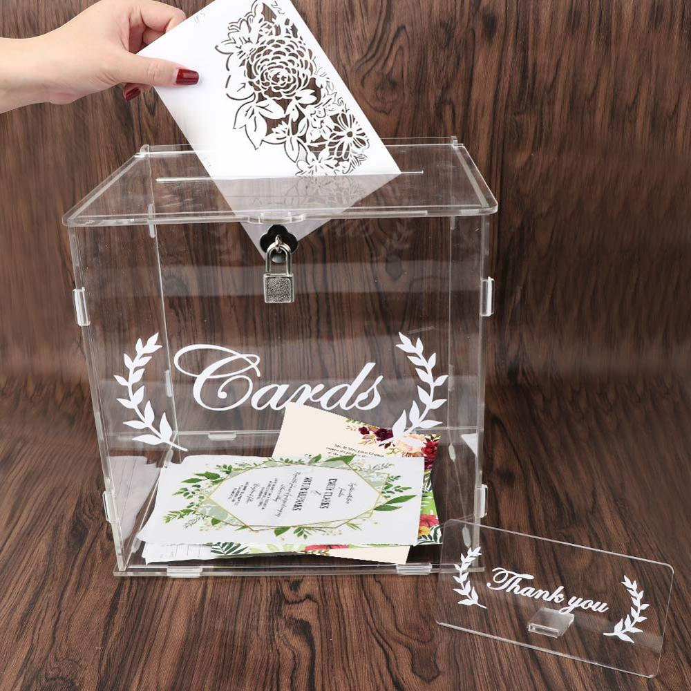 OurWarm 2020 Acrylic Wedding Card Box With Lock Wedding Anniversary Baby Shower Decorations Clear Invation Card Box 25.5*23*26cm