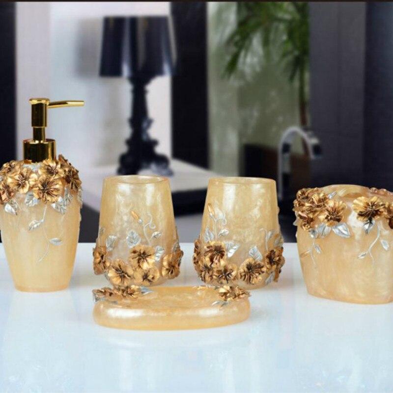 Ensembles d'accessoires de salle de bain 5 pièces résine salle de bain costume distributeur de savon/porte-brosse à dents/tasse/porte-savon produits de bain ensemble de lavage