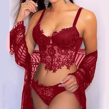 Women Lingerie Embroidery Bodysuit INTIMATES Wireless