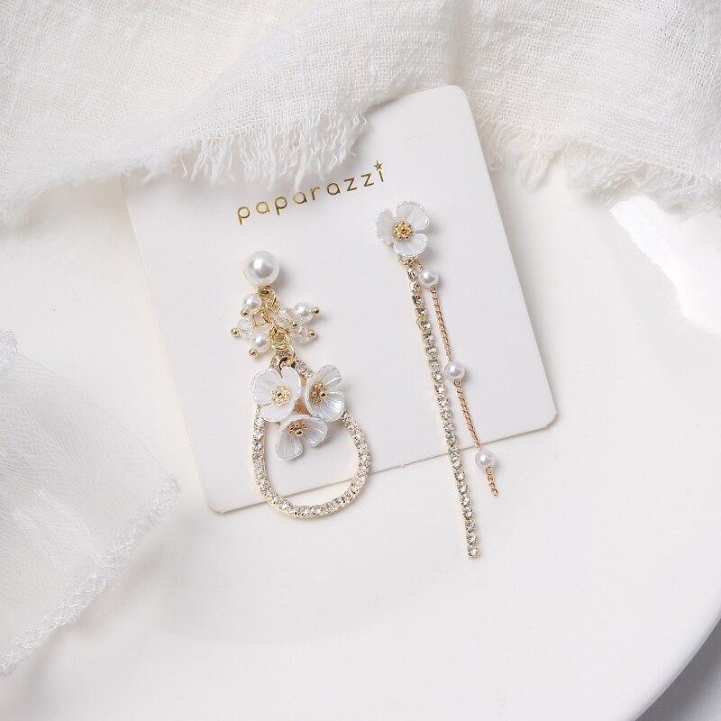 MWSONYA Fashion Korean Sweet Pearl Flower Drop Earrings for Women Fashion Tassel Pendientes Jewelry Earrings for Girl Gift