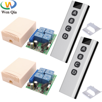 433MHz Remote Control AC 110V 220V 10A 4CH Wireless RF Receiver and Universal Transmitter For Light/Motor/Gate/Garage/SmartHome 433mhz universal wireless remote control ac220v 4ch rf relay receiver and transmitter for universal garage door and gate control