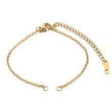 Corrente cubana ajustável de aço inoxidável de 5 pces com 2 loops para joias que fazem conectores pulseira joias que fazem suprimentos