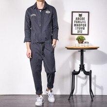 Japanese Vintage Cargo Pants Men Dark Gray Washed Jumpsuit M