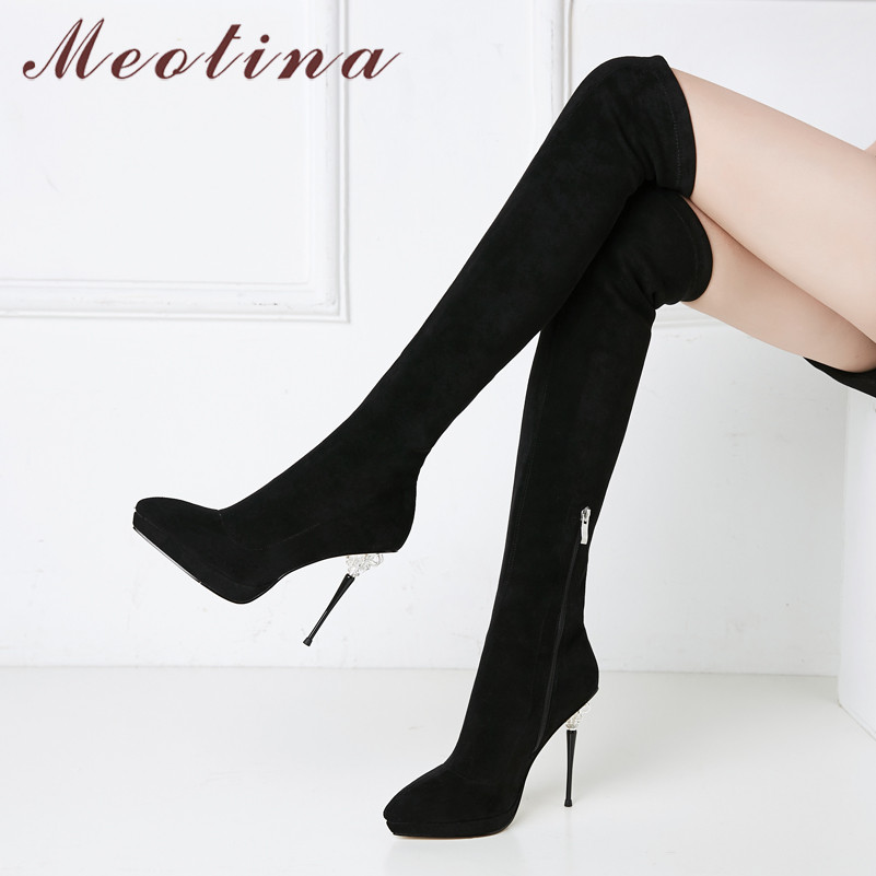 Meotina Winter Thigh High Boots Women Sexy Slim Stretch Thin Heel Over The Knee Boots Zip Extreme High Heel Shoes Lady Autumn 39