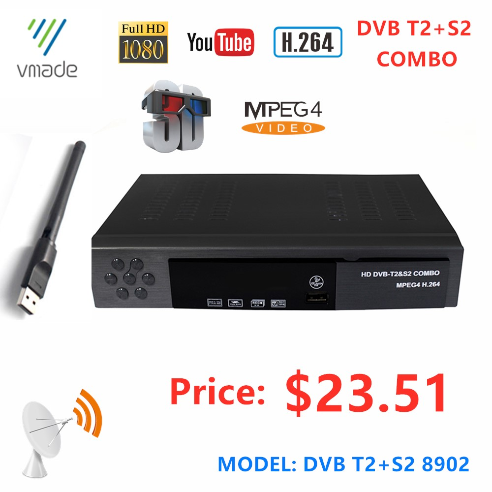 New DVB T2 S2 IPTV Combo Receiver HD Digital Terrestrial Satellite Set Top Box Comply With DVB-T/T2 And H.264 MPEG-4/2 Standard