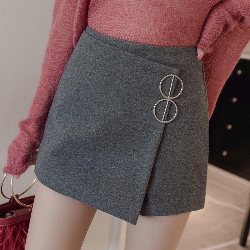 2019 Autumn Winter Woolen Skirts Shorts Women High Waist WIde Leg Shorts With Elegant Plus Size  Short Pants Femme