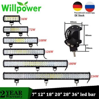 Willpower Offroad Led Work Light Bar 36W 72W 108W 126W 180W Spot Flood LED Light Beam for UAZ 4WD SUV ATV 4x4 Motorcycle