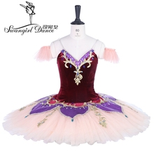 цена на professional nutcracker ballet tutu costume burgundy beige fairy classical ballet tutu costume dress BT9261