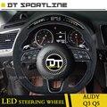 Светодиодный чехол на руль из углеродного волокна и кожи для Audi Q3 Q5  улучшенный светодиодный дисплей для A3 A4 A5 A7