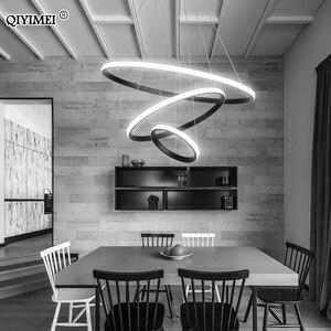 Image 2 - الحديثة قلادة LED أضواء شنق مصباح غرفة المعيشة بهو الأبيض القهوة الأسود الخارجية الإضاءة حلقة الإضاءة Luminaria Abajur دي