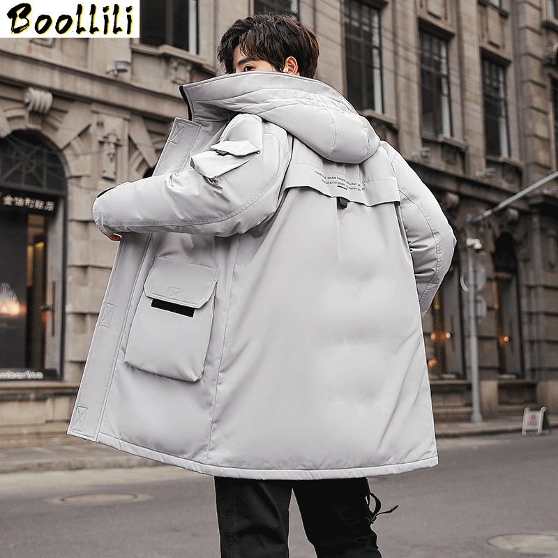 Boolili 2020 New Fashion Autumn Winter Outwear Down Jacket Men Windproof Waterproof Duck Down Parka Male Long Thick Warm Coat