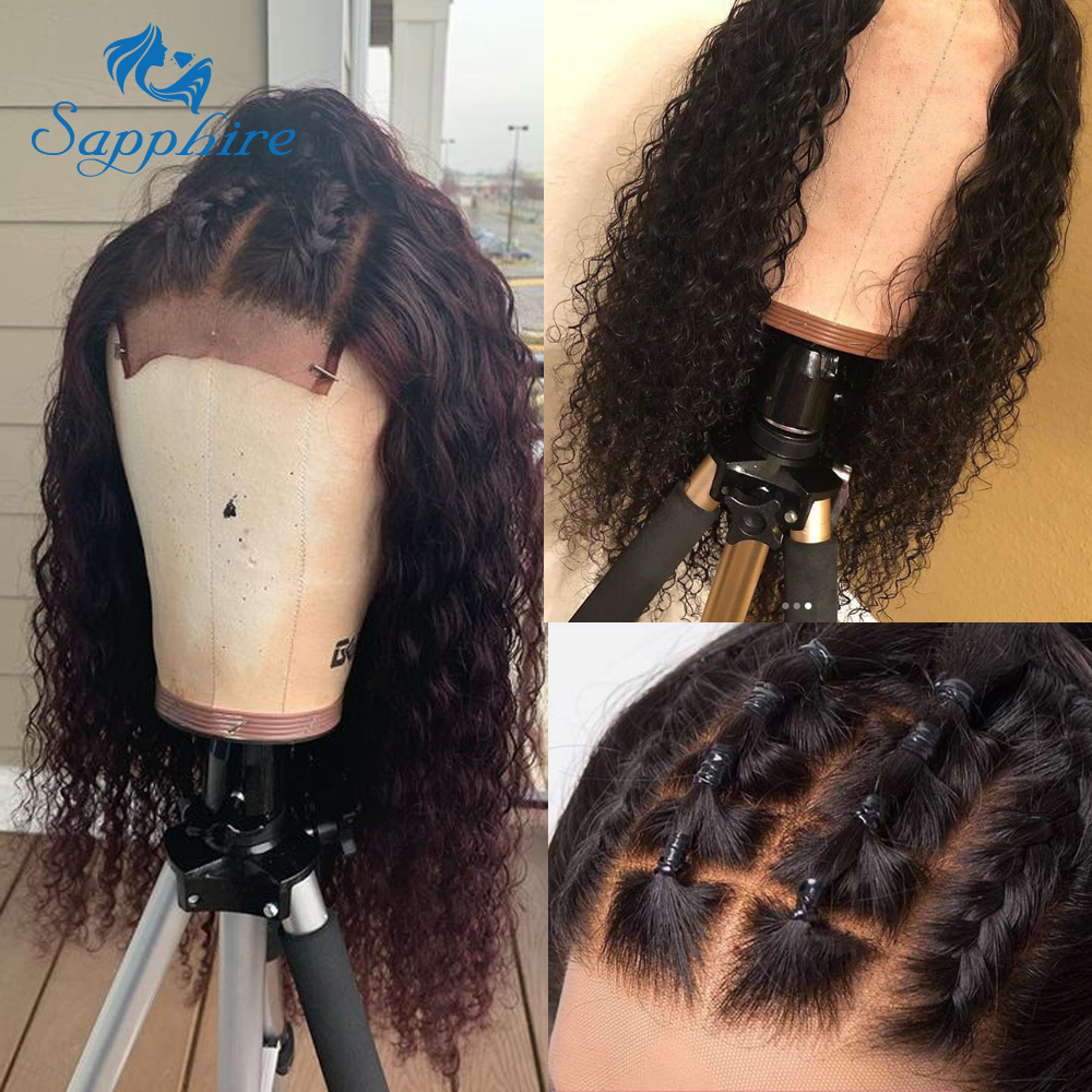 Sapphire Hair Lace Front Human Hair Wigs Brazilian Kinky Curly Human Hair Wig For Black Women 150% Density 4*4 Lace Closure Wigs