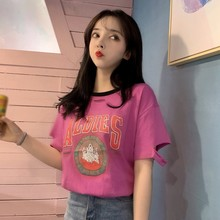 2019 Summer Women's Fashion Casual Round Neck Cartoon & Letters Print Cotton Short Sleeve Loose Pullover Hole Female T-Shirt round neck letters print short sleeve cotton men s t shirt