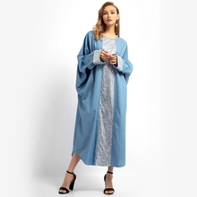 Muslim Sequined MAXI Dress 2019 Solid Long Sleeve Round Neck Sky Blue Women Dress Plus Size Robes Casual Office Female Vestidos sky blue half sleeve maxi dress