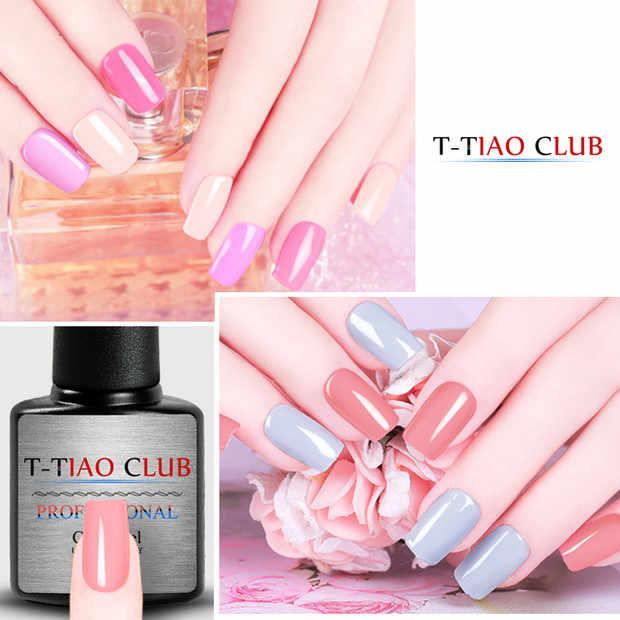 T-TIAO Club 7 Ml 60 Kleuren Gel Nagellak Glitter Pure Nail Kleur Nagel Gel Lak Losweken Uv Gel varnish Base Coat Geen Veeg Top