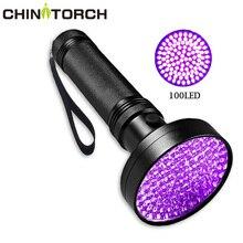 UV siyah işık el feneri süper parlak 10 W 100 LED 395 nm menekşe Ultra el lambası UV meşale ışık para için, yatak koruyucu, akrepler