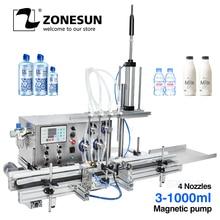 Zonesun 4 bicos bomba magnética dispositivo de propulsão automática garrafa máquinas enchimento líquido desktop água enchimento perfume cervejaria