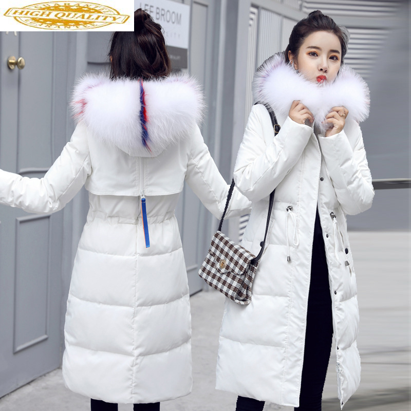 Women's Down Jacket 2020 Winter Coat Women Racoon Fur Collar Long White Coats And Jackets For Women Doudoune Femme KJ783